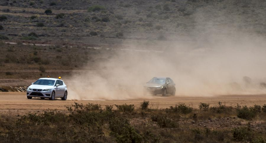 In the dust test, the car travels behind a dense cloud of dust thrown up by a support vehicle.