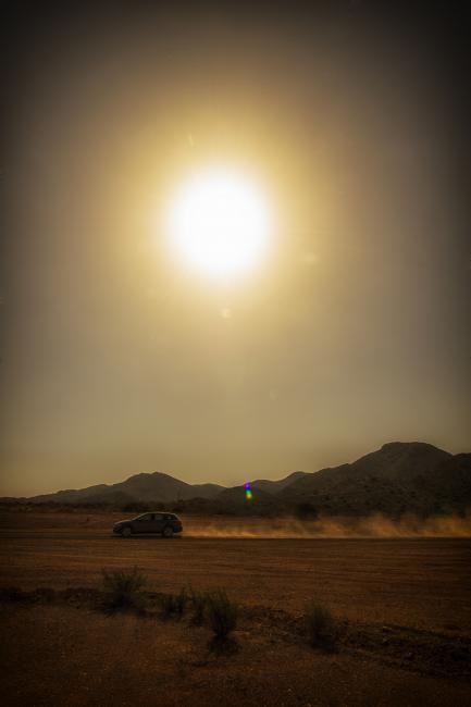 Experimenters check vehicle performance with raft of tests in desert.
