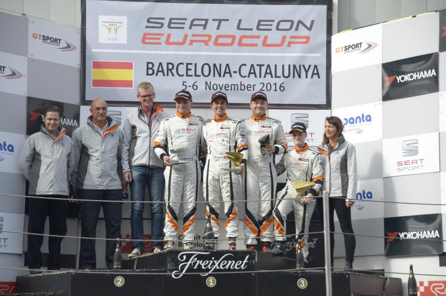 The podium after the second race in Barcelona